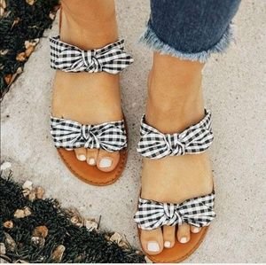 Shoes - Gingham double strap summer women sandals